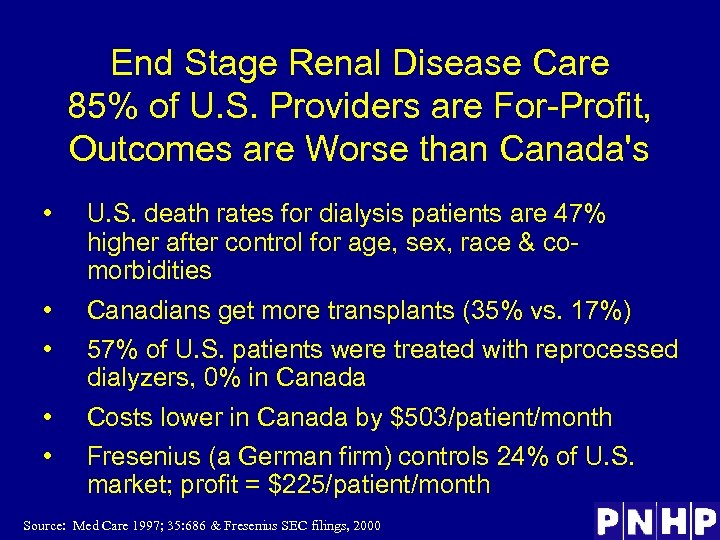 End Stage Renal Disease Care 85% of U. S. Providers are For-Profit, Outcomes are