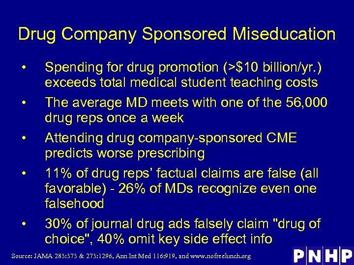 Drug Company Sponsored Miseducation • • • Spending for drug promotion (>$10 billion/yr. )