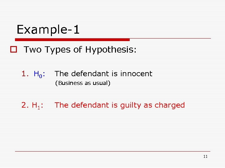 Example-1 o Two Types of Hypothesis: 1. H 0: The defendant is innocent (Business