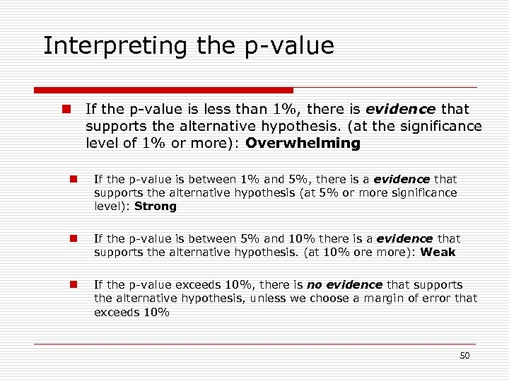 Interpreting the p-value n If the p-value is less than 1%, there is evidence