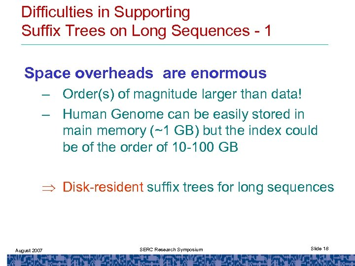 Difficulties in Supporting Suffix Trees on Long Sequences - 1 Space overheads are enormous