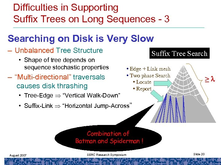 Difficulties in Supporting Suffix Trees on Long Sequences - 3 Searching on Disk is