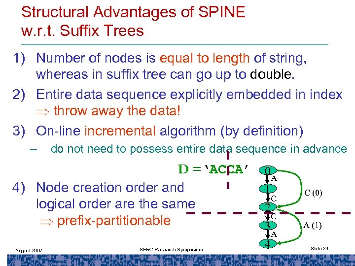 Structural Advantages of SPINE w. r. t. Suffix Trees 1) Number of nodes is