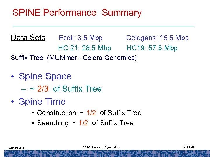 SPINE Performance Summary Data Sets Ecoli: 3. 5 Mbp Celegans: 15. 5 Mbp HC