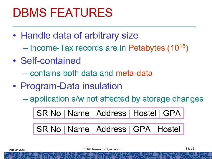 DBMS FEATURES • Handle data of arbitrary size – Income-Tax records are in Petabytes
