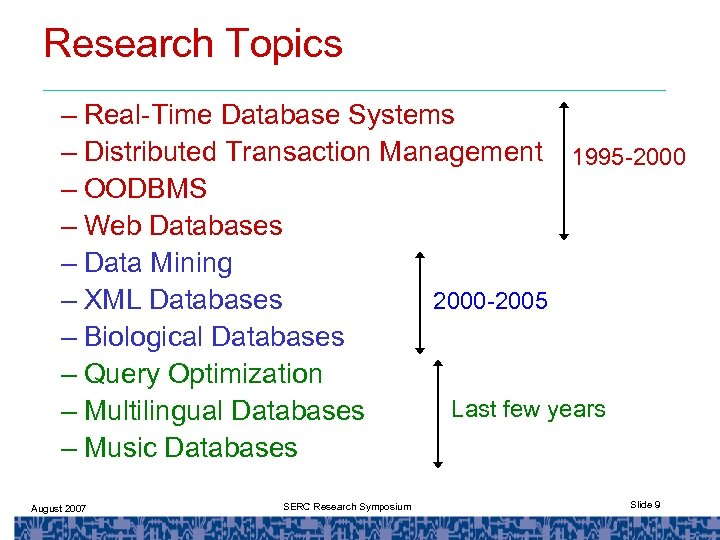 Research Topics – Real-Time Database Systems – Distributed Transaction Management 1995 -2000 – OODBMS
