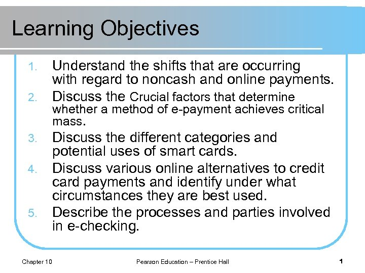 Learning Objectives 1. 2. 3. 4. 5. Chapter 10 Understand the shifts that are