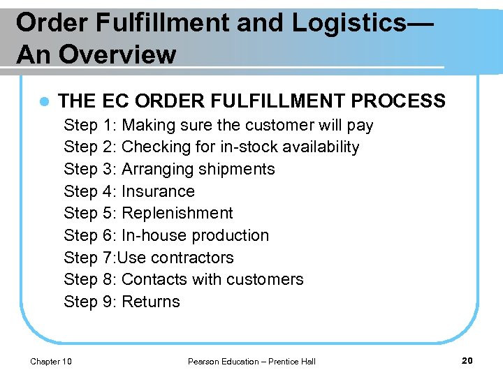 Order Fulfillment and Logistics— An Overview l THE EC ORDER FULFILLMENT PROCESS Step 1: