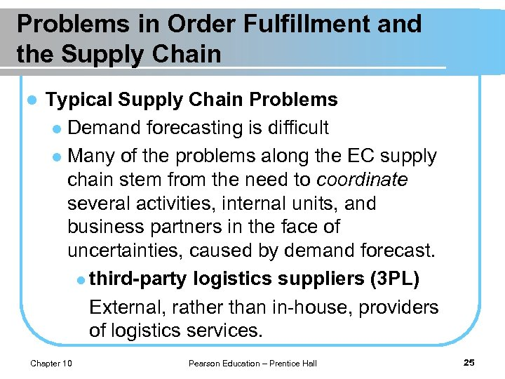 Problems in Order Fulfillment and the Supply Chain l Typical Supply Chain Problems l