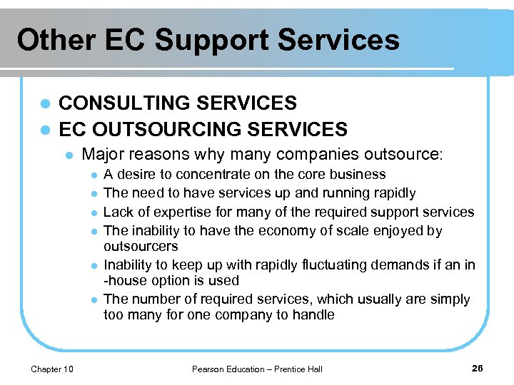 Other EC Support Services CONSULTING SERVICES l EC OUTSOURCING SERVICES l l Major reasons