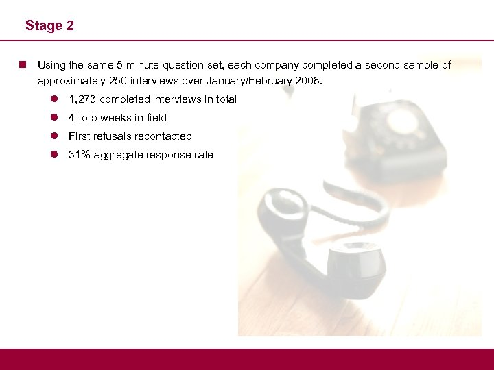 Stage 2 n Using the same 5 -minute question set, each company completed a