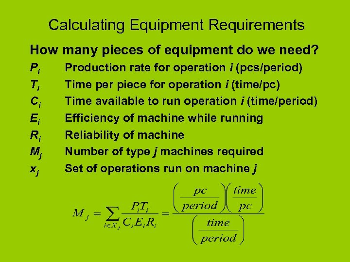 Calculating Equipment Requirements How many pieces of equipment do we need? Pi Ti Ci