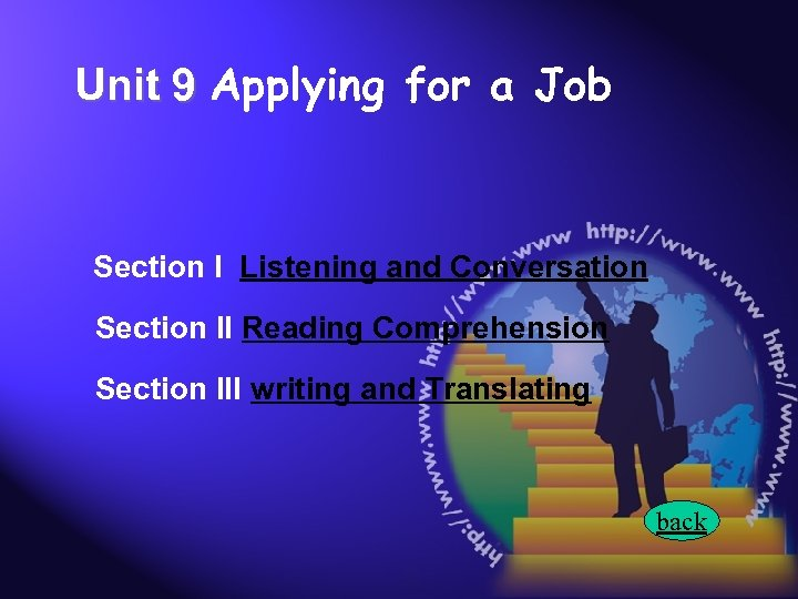 Unit 9 Applying for a Job Section I Listening and Conversation Section II Reading
