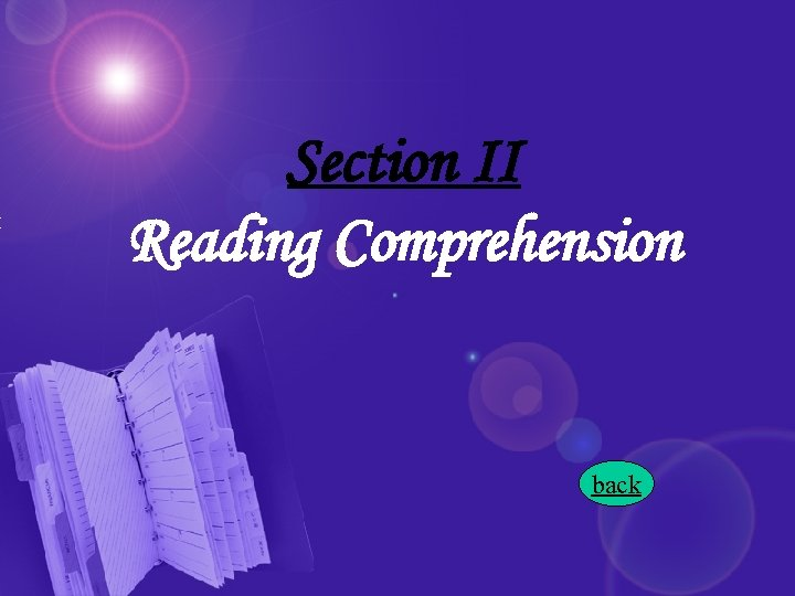Section II Reading Comprehension back