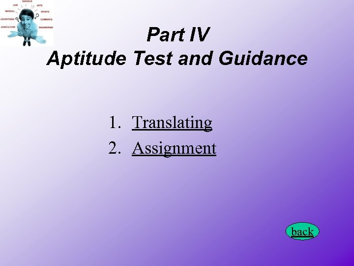 Part IV Aptitude Test and Guidance 1. Translating 2. Assignment back