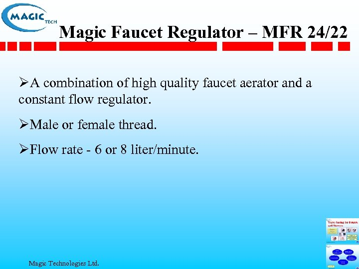 Magic Faucet Regulator – MFR 24/22 ØA combination of high quality faucet aerator and