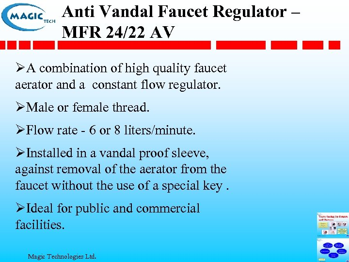 Anti Vandal Faucet Regulator – MFR 24/22 AV ØA combination of high quality faucet