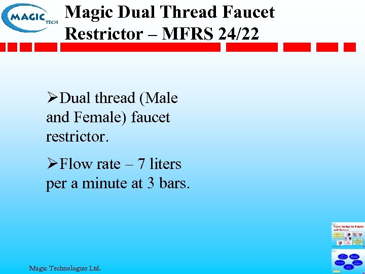 Magic Dual Thread Faucet Restrictor – MFRS 24/22 ØDual thread (Male and Female) faucet