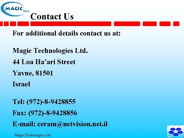 Contact Us For additional details contact us at: Magic Technologies Ltd. 44 Loa Ha'ari