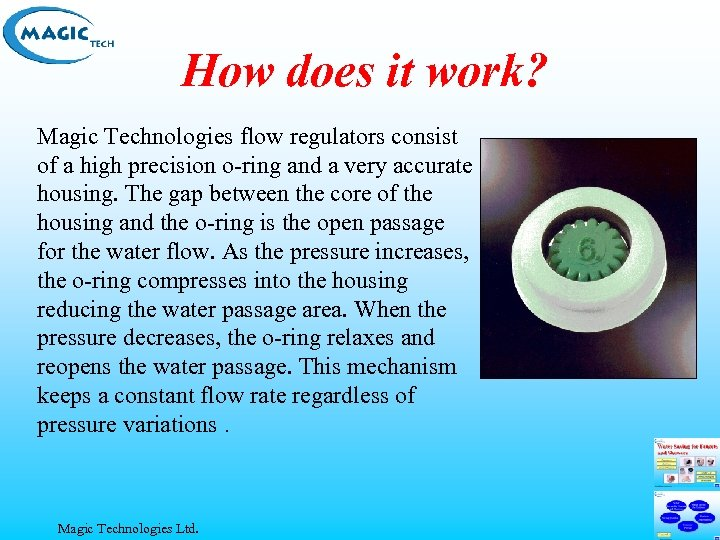 How does it work? Magic Technologies flow regulators consist of a high precision o-ring
