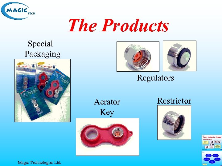 The Products Special Packaging Regulators Aerator Key Magic Technologies Ltd. Restrictor