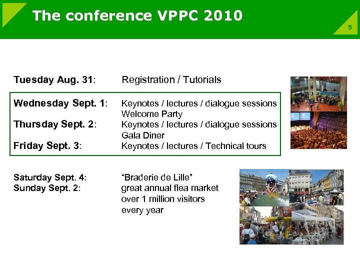 The conference VPPC 2010 Tuesday Aug. 31: Registration / Tutorials Wednesday Sept. 1: Keynotes