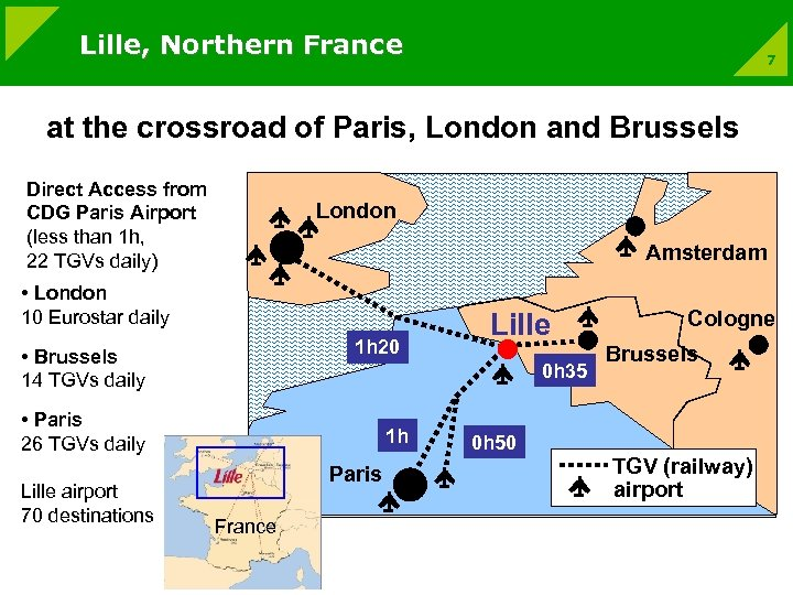 Lille, Northern France 7 at the crossroad of Paris, London and Brussels Direct Access