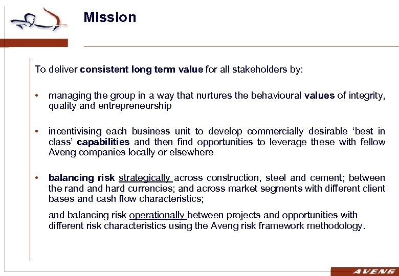 Mission To deliver consistent long term value for all stakeholders by: • managing the