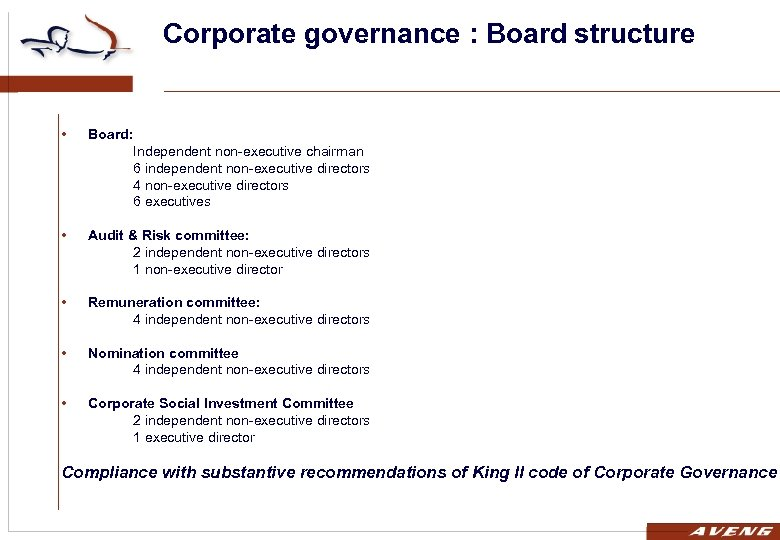 Corporate governance : Board structure • Board: Independent non-executive chairman 6 independent non-executive directors