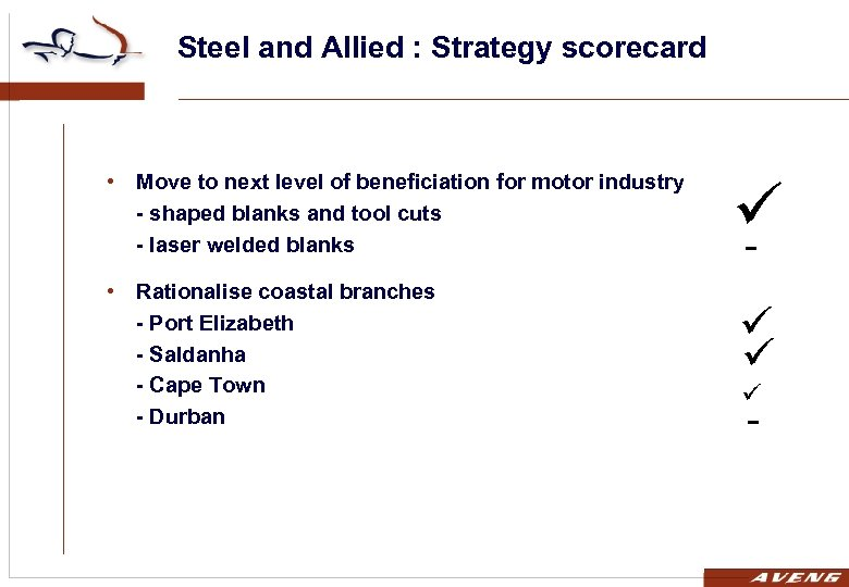 Steel and Allied : Strategy scorecard • Move to next level of beneficiation for