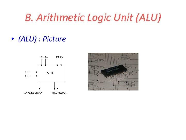 B. Arithmetic Logic Unit (ALU) • (ALU) : Picture