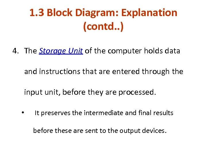 1. 3 Block Diagram: Explanation (contd. . ) 4. The Storage Unit of the