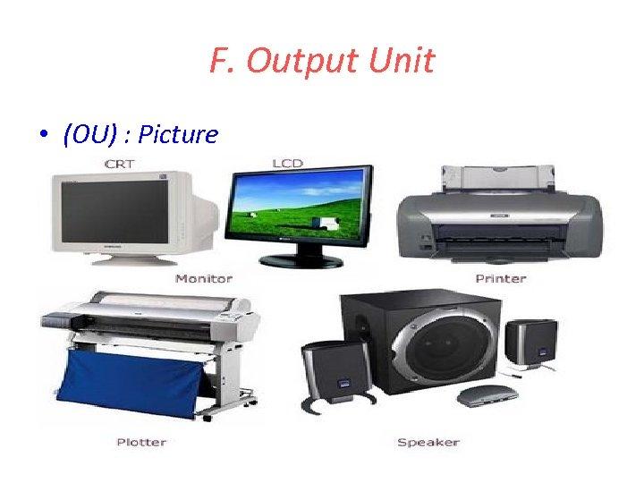 F. Output Unit • (OU) : Picture
