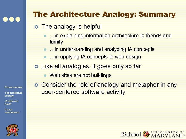 The Architecture Analogy: Summary ¢ The analogy is helpful l ¢ Like all analogies,