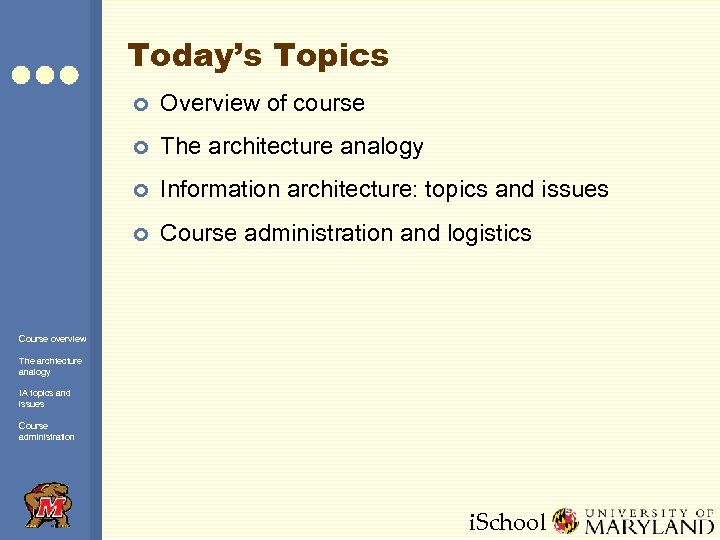 Today's Topics ¢ Overview of course ¢ The architecture analogy ¢ Information architecture: topics