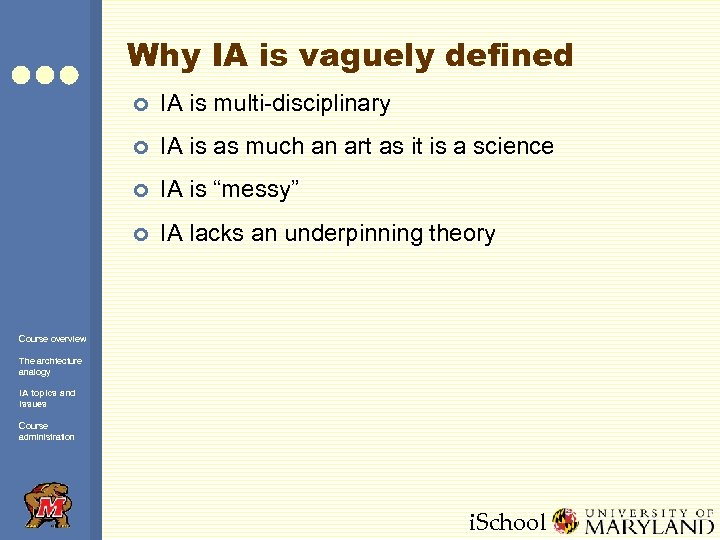Why IA is vaguely defined ¢ IA is multi-disciplinary ¢ IA is as much