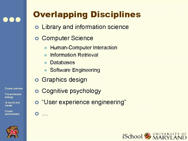 Overlapping Disciplines ¢ Library and information science ¢ Computer Science l l Human-Computer Interaction