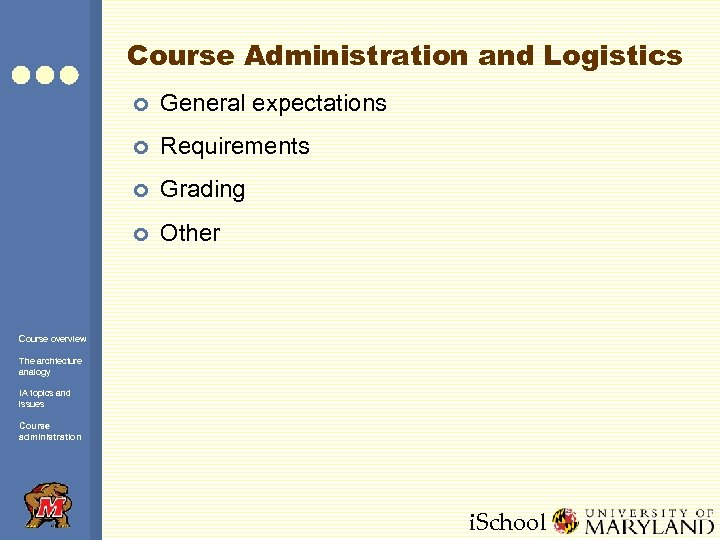 Course Administration and Logistics ¢ General expectations ¢ Requirements ¢ Grading ¢ Other Course