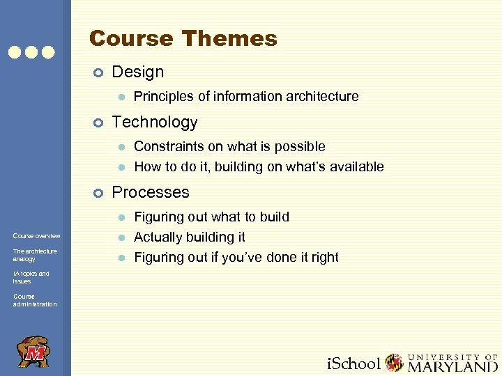 Course Themes ¢ Design l ¢ Technology l l ¢ Principles of information architecture