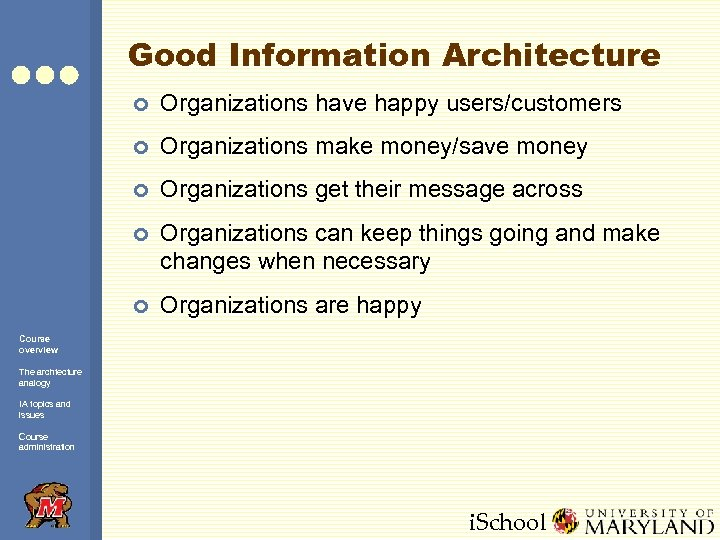 Good Information Architecture ¢ Organizations have happy users/customers ¢ Organizations make money/save money ¢