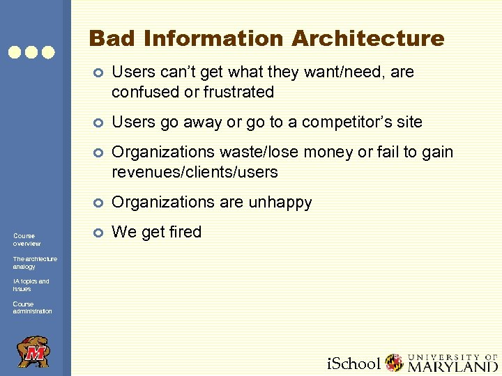 Bad Information Architecture ¢ ¢ Users go away or go to a competitor's site