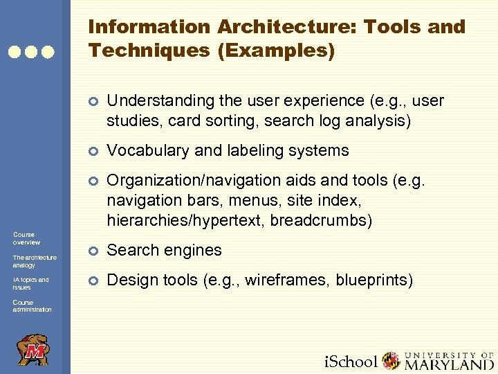 Information Architecture: Tools and Techniques (Examples) ¢ ¢ The archtecture analogy IA topics and