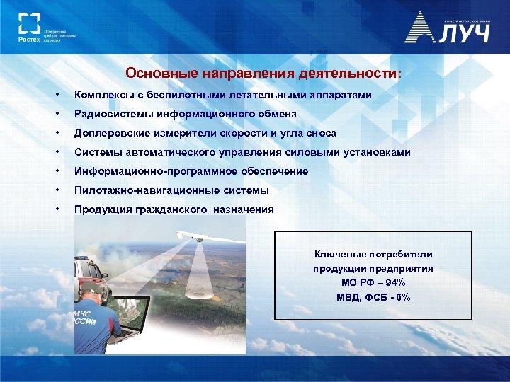 Основные направления деятельности: • Комплексы с беспилотными летательными аппаратами • Радиосистемы информационного обмена •