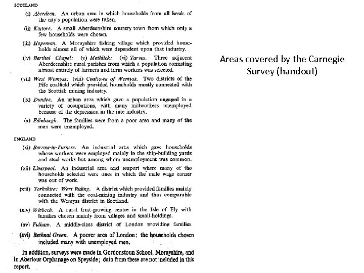 Areas covered by the Carnegie Survey (handout)