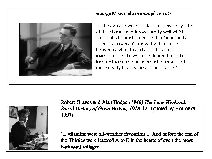 George M'Gonigle in Enough to Eat? '. . . the average working class housewife