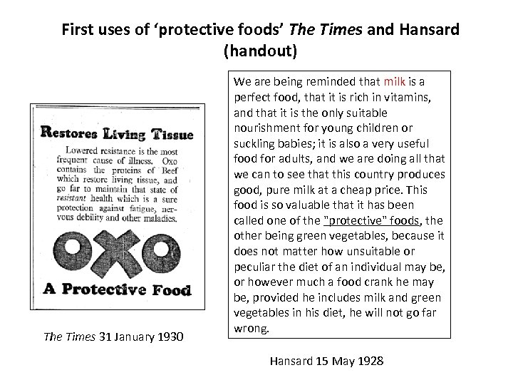 First uses of 'protective foods' The Times and Hansard (handout) The Times 31 January