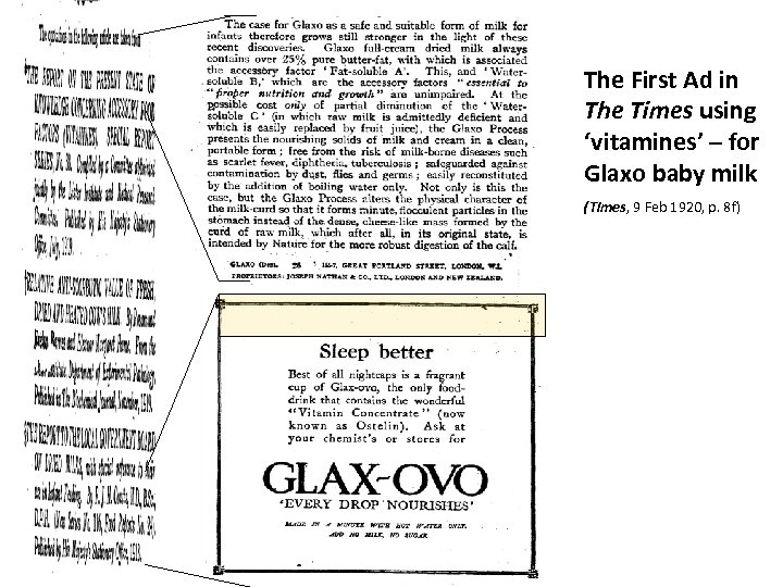 The First Ad in The Times using 'vitamines' – for Glaxo baby milk (Times,