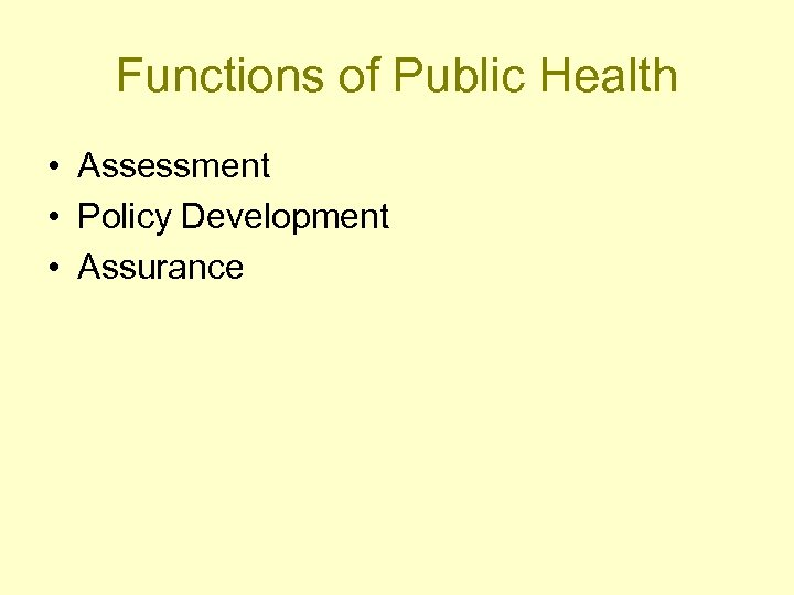 Functions of Public Health • Assessment • Policy Development • Assurance