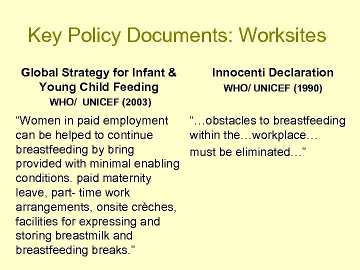 Key Policy Documents: Worksites Global Strategy for Infant & Young Child Feeding Innocenti Declaration