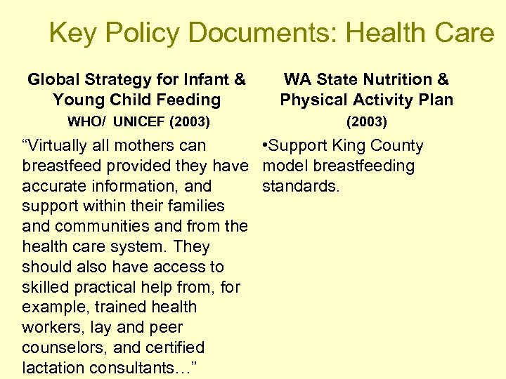 Key Policy Documents: Health Care Global Strategy for Infant & Young Child Feeding WA